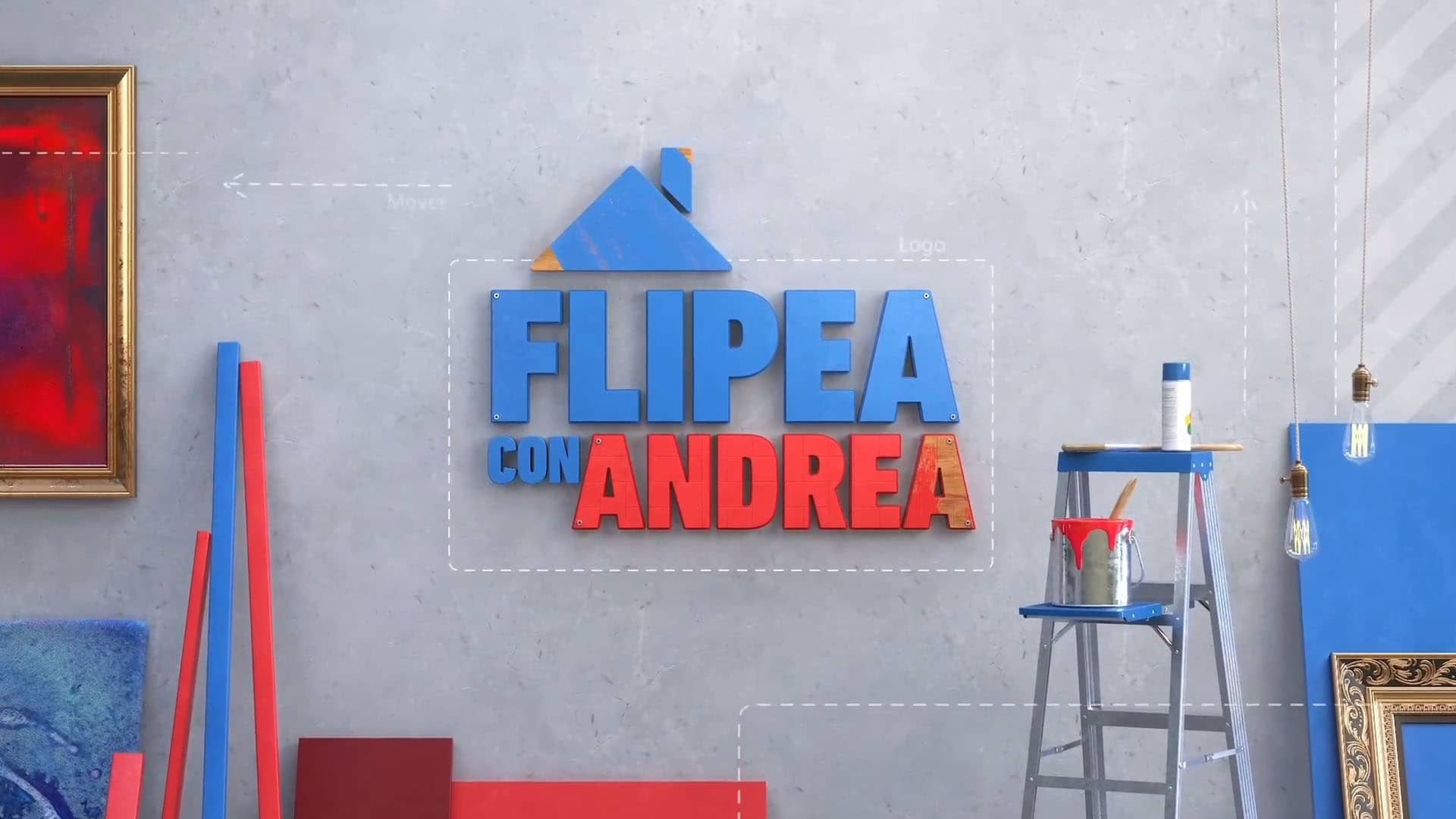Flipea con Andrea intro | a room with various decor elements: wood panels, light bubbles, paint, folding ladder, paintings
